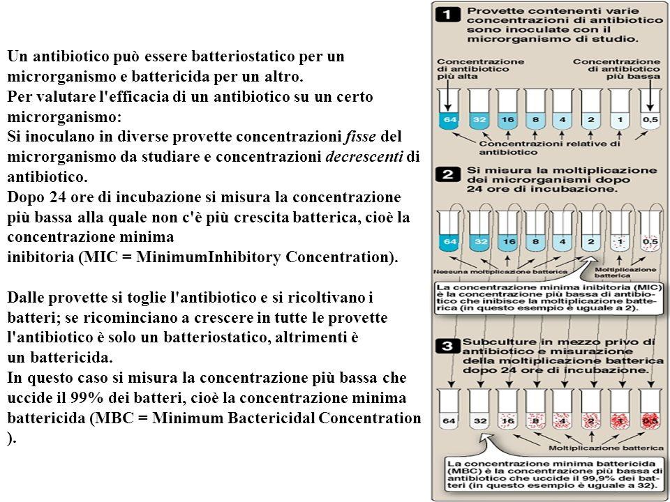 Un antibiotico può essere batteriostatico per un microrganismo e battericida per un altro. Per valutare l'efficacia di un antibiotico su un certo micr