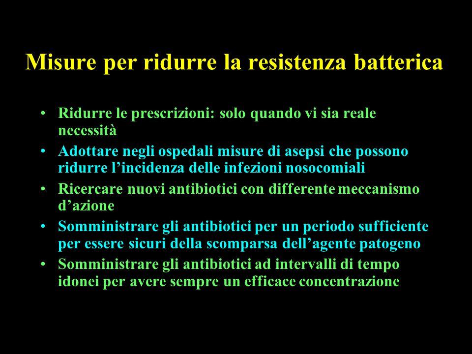Misure per ridurre la resistenza batterica Ridurre le prescrizioni: solo quando vi sia reale necessità Adottare negli ospedali misure di asepsi che po
