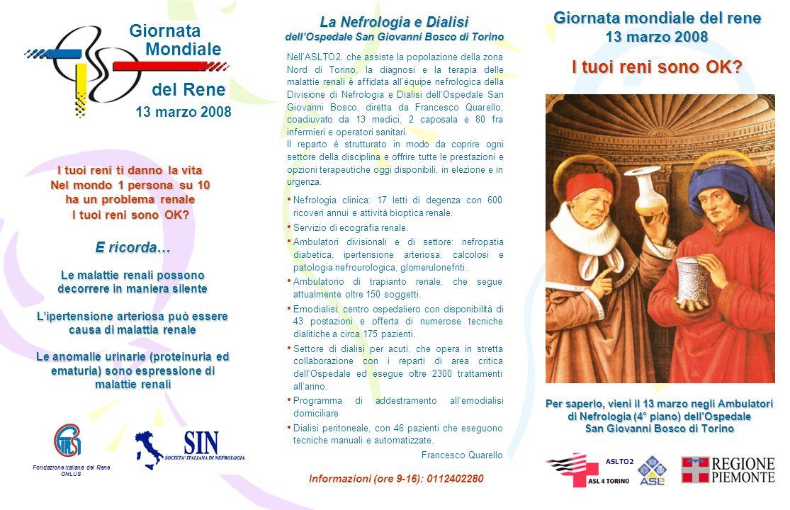 Per 45 mila persone in dialisi in Italia sarà celebrata, il 13 marzo, la Giornata Mondiale del Rene, iniziativa promossa dalla Società Italiana di Nefrologia (SIN) e dalla Fondazione Italiana del Rene (FIR).