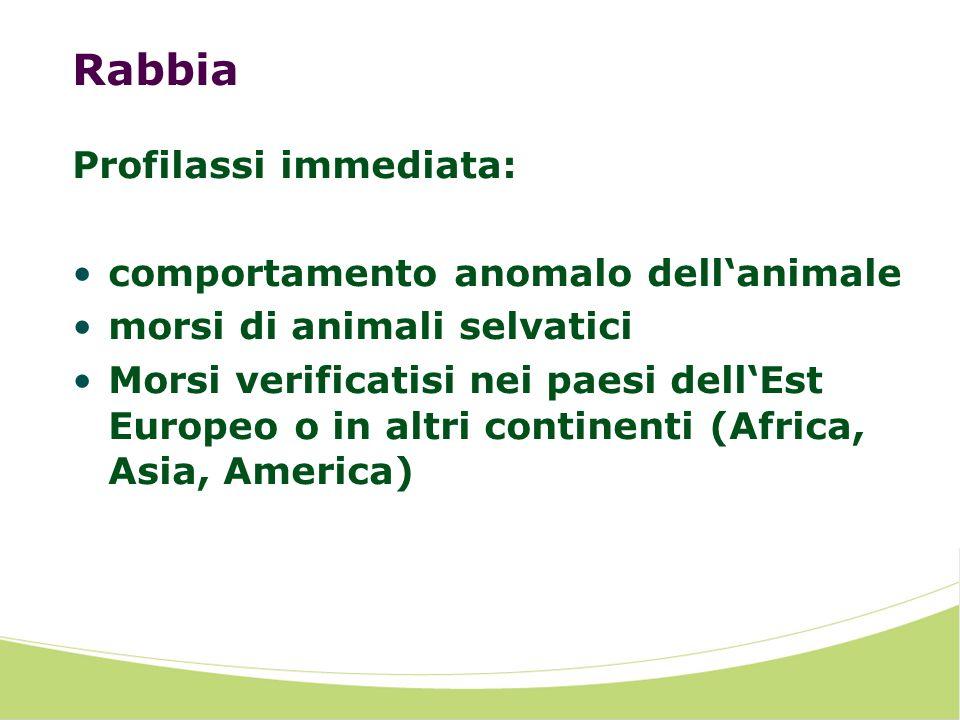 Rabbia Profilassi immediata: comportamento anomalo dellanimale morsi di animali selvatici Morsi verificatisi nei paesi dellEst Europeo o in altri continenti (Africa, Asia, America)