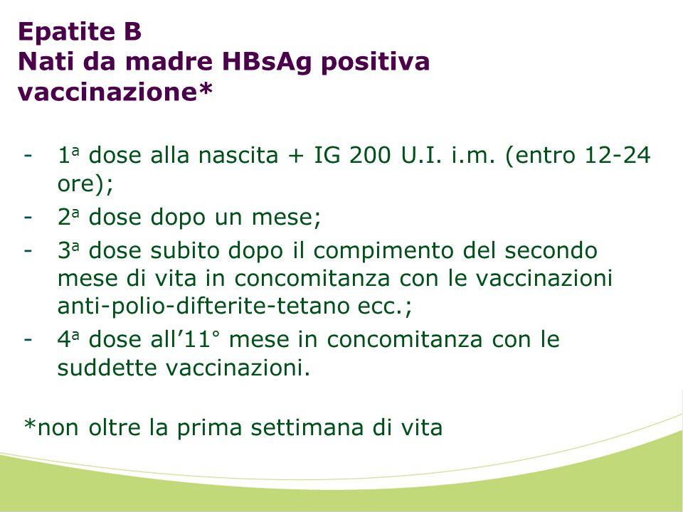 Epatite B Nati da madre HBsAg positiva vaccinazione* -1 a dose alla nascita + IG 200 U.I. i.m. (entro 12-24 ore); -2 a dose dopo un mese; -3 a dose su