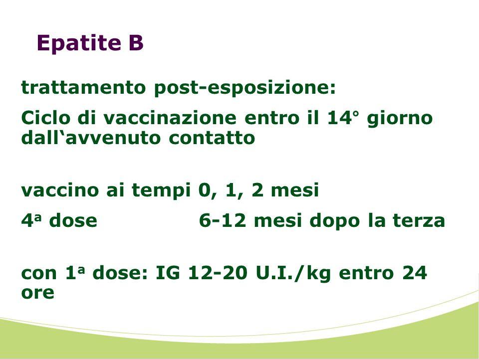 Epatite B trattamento post-esposizione: Ciclo di vaccinazione entro il 14° giorno dallavvenuto contatto vaccino ai tempi 0, 1, 2 mesi 4 a dose 6-12 mesi dopo la terza con 1 a dose: IG 12-20 U.I./kg entro 24 ore