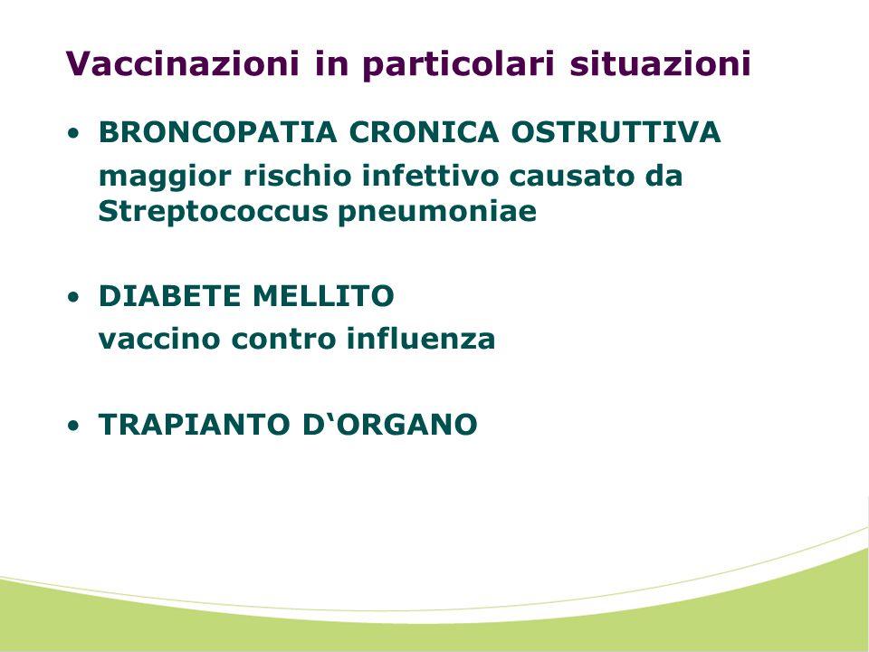 Vaccinazioni in particolari situazioni BRONCOPATIA CRONICA OSTRUTTIVA maggior rischio infettivo causato da Streptococcus pneumoniae DIABETE MELLITO vaccino contro influenza TRAPIANTO DORGANO