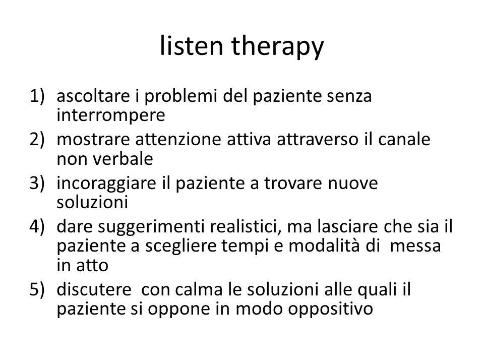 listen therapy 1)ascoltare i problemi del paziente senza interrompere 2)mostrare attenzione attiva attraverso il canale non verbale 3)incoraggiare il