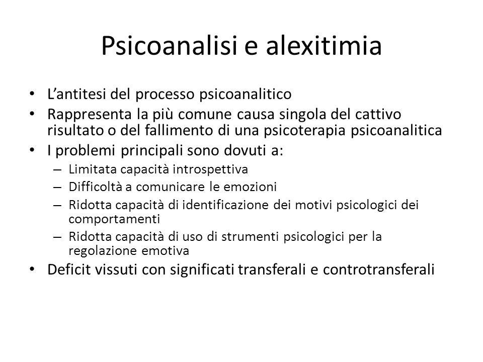 Psicoanalisi e alexitimia Lantitesi del processo psicoanalitico Rappresenta la più comune causa singola del cattivo risultato o del fallimento di una