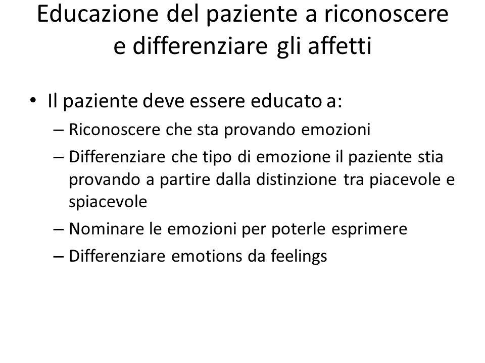 Educazione del paziente a riconoscere e differenziare gli affetti Il paziente deve essere educato a: – Riconoscere che sta provando emozioni – Differe