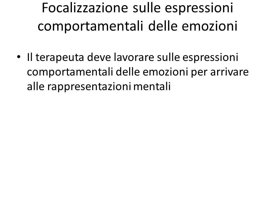 Focalizzazione sulle espressioni comportamentali delle emozioni Il terapeuta deve lavorare sulle espressioni comportamentali delle emozioni per arriva