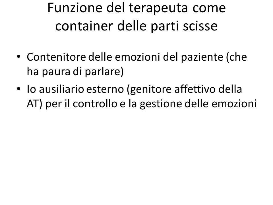 Funzione del terapeuta come container delle parti scisse Contenitore delle emozioni del paziente (che ha paura di parlare) Io ausiliario esterno (geni