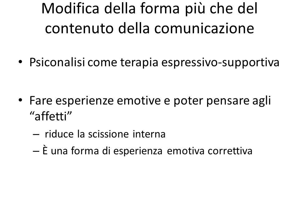 Modifica della forma più che del contenuto della comunicazione Psiconalisi come terapia espressivo-supportiva Fare esperienze emotive e poter pensare