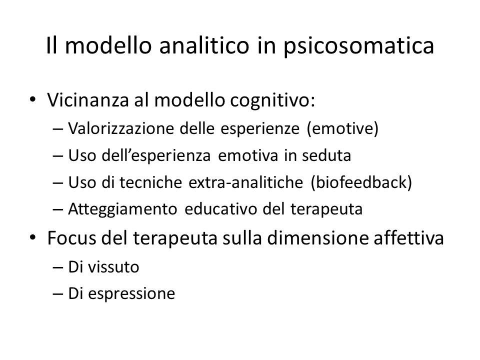 Il modello analitico in psicosomatica Vicinanza al modello cognitivo: – Valorizzazione delle esperienze (emotive) – Uso dellesperienza emotiva in sedu