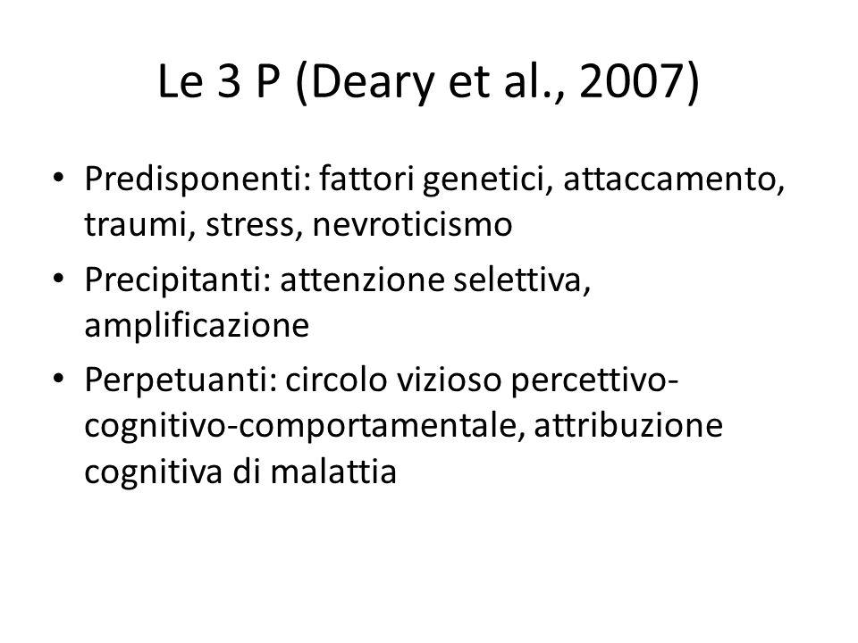 Le 3 P (Deary et al., 2007) Predisponenti: fattori genetici, attaccamento, traumi, stress, nevroticismo Precipitanti: attenzione selettiva, amplificaz