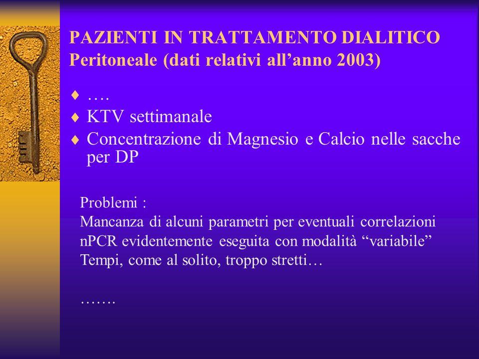 PAZIENTI IN TRATTAMENTO DIALITICO Peritoneale (dati relativi allanno 2003) …. KTV settimanale Concentrazione di Magnesio e Calcio nelle sacche per DP