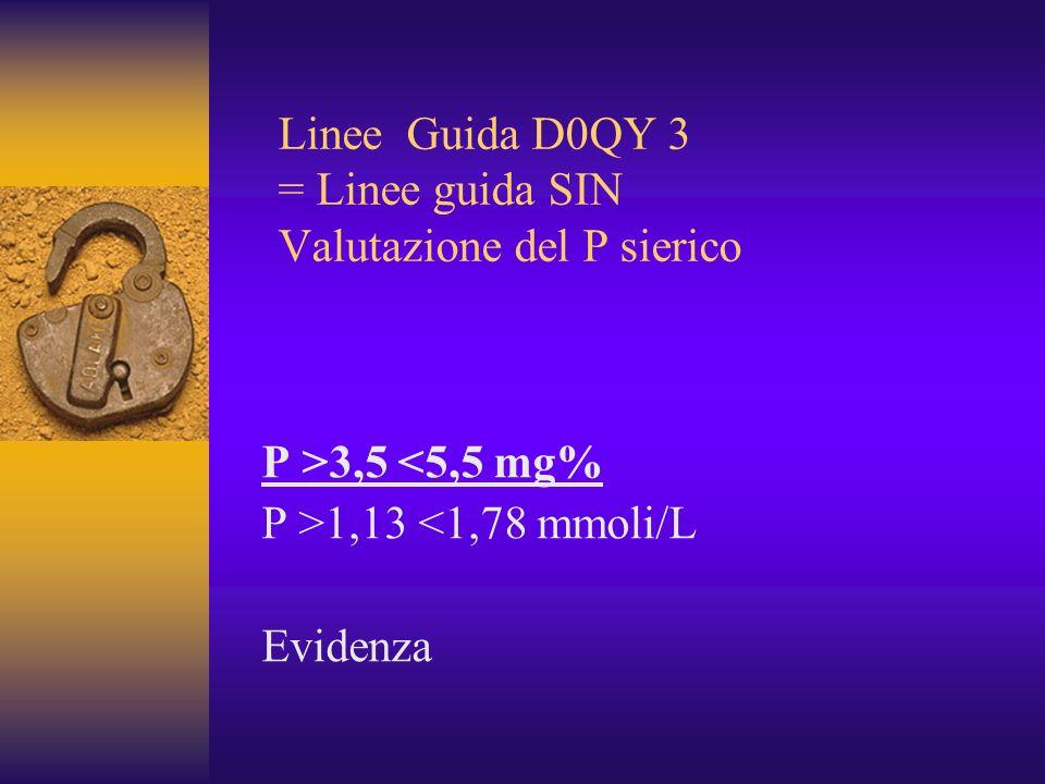 Linee Guida D0QY 3 = Linee guida SIN Valutazione del P sierico P >3,5 <5,5 mg% P >1,13 <1,78 mmoli/L Evidenza
