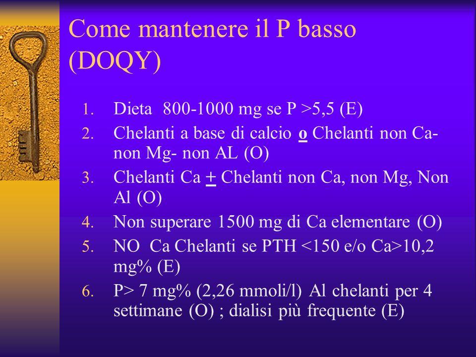 Come mantenere il P basso (DOQY) 1. Dieta 800-1000 mg se P >5,5 (E) 2. Chelanti a base di calcio o Chelanti non Ca- non Mg- non AL (O) 3. Chelanti Ca