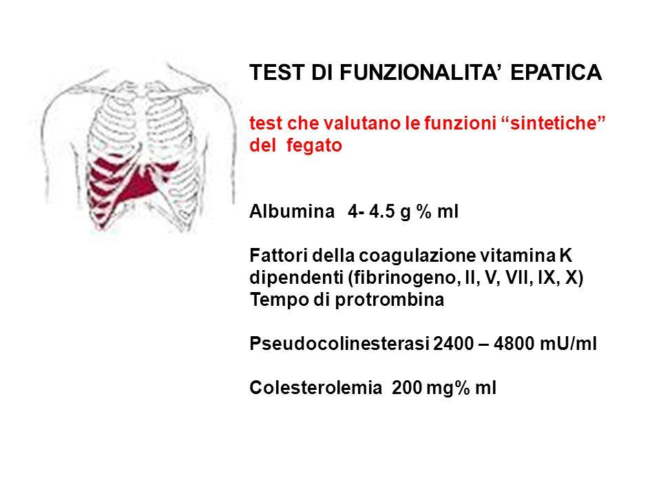 TEST DI FUNZIONALITA EPATICA test che valutano le funzioni sintetiche del fegato Albumina 4- 4.5 g % ml Fattori della coagulazione vitamina K dipenden