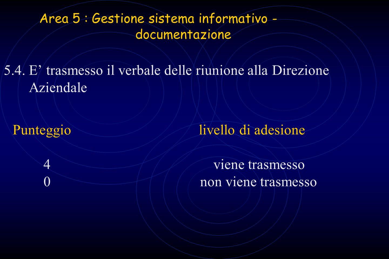 Area 5 : Gestione sistema informativo - documentazione 5.4. E trasmesso il verbale delle riunione alla Direzione Aziendale Punteggio livello di adesio