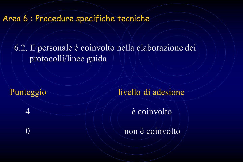 Area 6 : Procedure specifiche tecniche 6.2. Il personale è coinvolto nella elaborazione dei protocolli/linee guida Punteggiolivello di adesione 4 è co