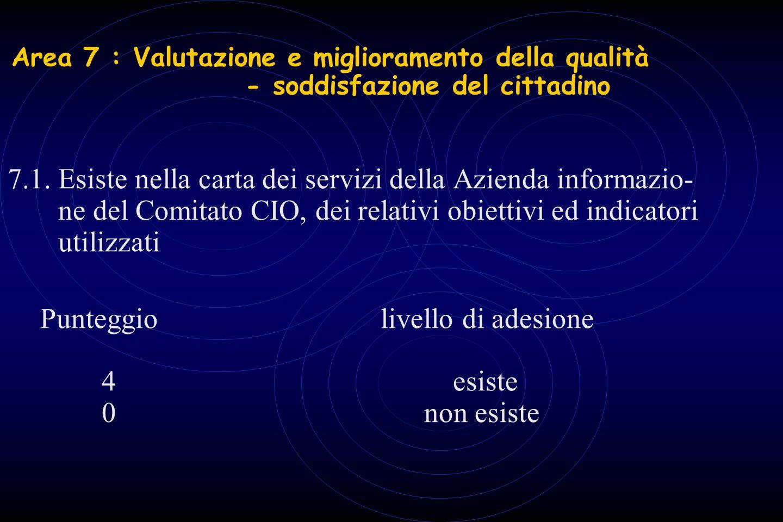 Area 7 : Valutazione e miglioramento della qualità - soddisfazione del cittadino 7.1. Esiste nella carta dei servizi della Azienda informazio- ne del