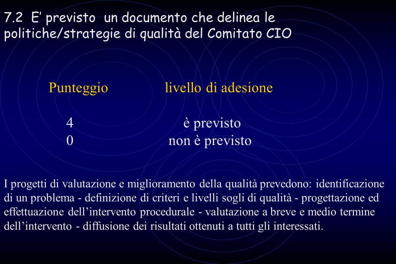 7.2 E previsto un documento che delinea le politiche/strategie di qualità del Comitato CIO Punteggio livello di adesione 4 è previsto 0 non è previsto