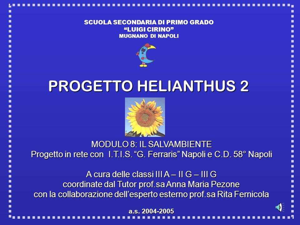 SCUOLA SECONDARIA DI PRIMO GRADO LUIGI CIRINO MUGNANO DI NAPOLI PROGETTO HELIANTHUS 2 MODULO 8: IL SALVAMBIENTE Progetto in rete con I.T.I.S. G. Ferra