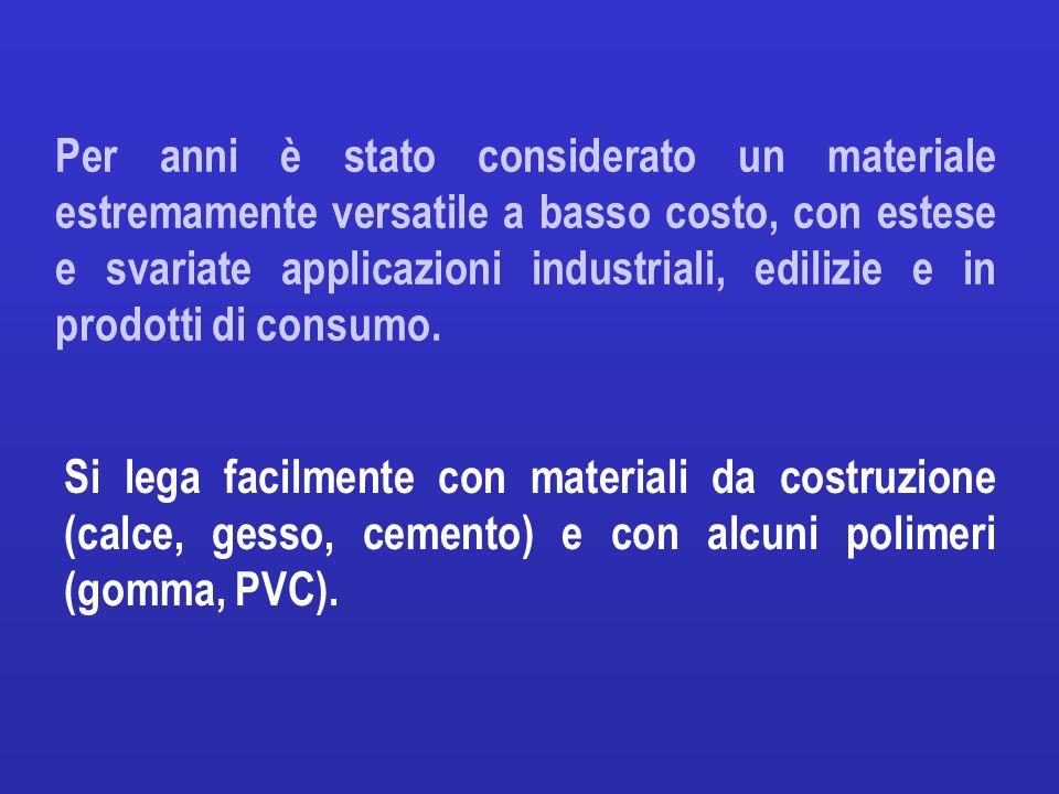 Per anni è stato considerato un materiale estremamente versatile a basso costo, con estese e svariate applicazioni industriali, edilizie e in prodotti