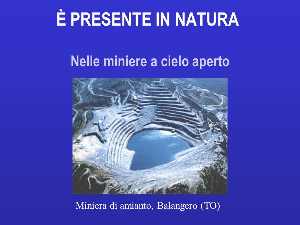 È PRESENTE IN NATURA Nelle miniere a cielo aperto Miniera di amianto, Balangero (TO)
