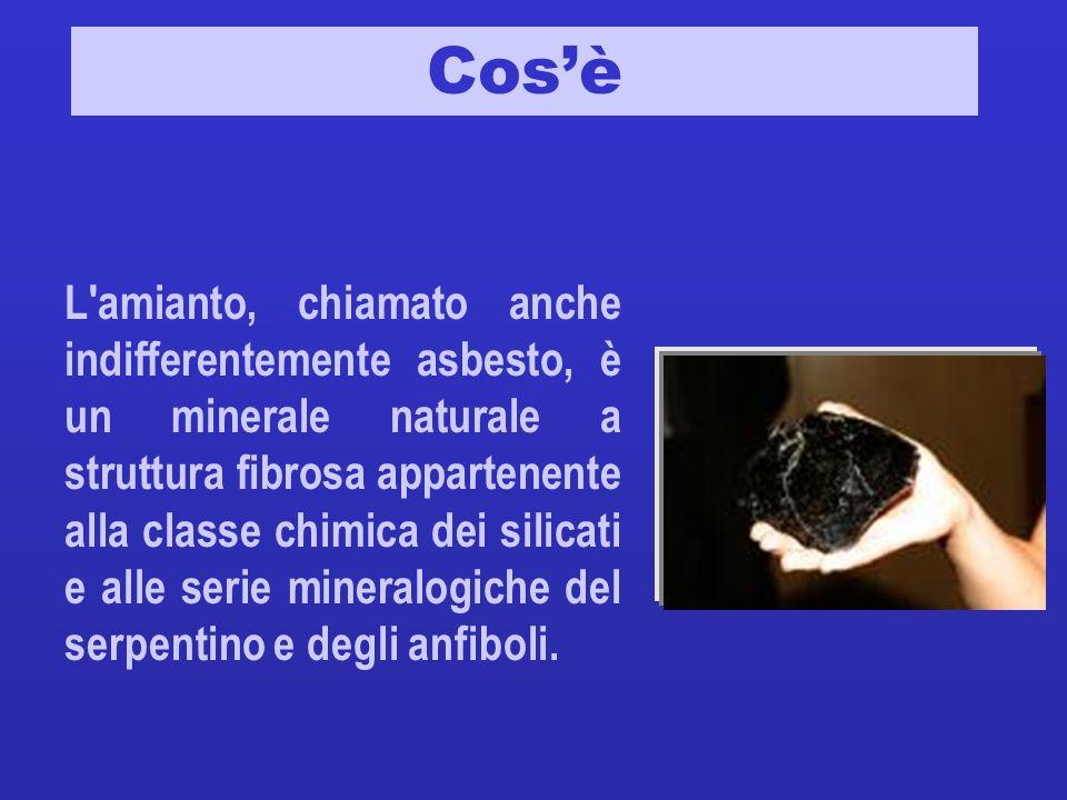 Cosè L'amianto, chiamato anche indifferentemente asbesto, è un minerale naturale a struttura fibrosa appartenente alla classe chimica dei silicati e a