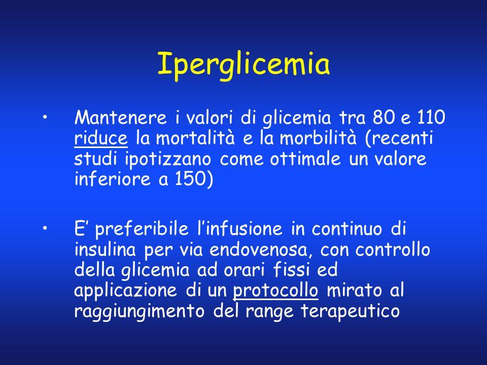 Iperglicemia Mantenere i valori di glicemia tra 80 e 110 riduce la mortalità e la morbilità (recenti studi ipotizzano come ottimale un valore inferior
