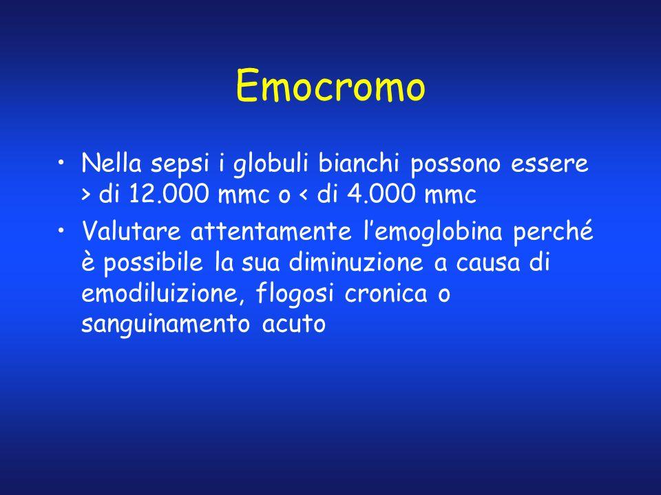 Emocromo Nella sepsi i globuli bianchi possono essere > di 12.000 mmc o < di 4.000 mmc Valutare attentamente lemoglobina perché è possibile la sua dim