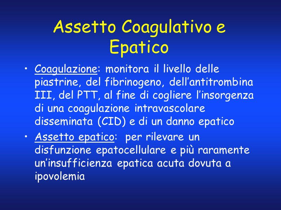 Assetto Coagulativo e Epatico Coagulazione: monitora il livello delle piastrine, del fibrinogeno, dellantitrombina III, del PTT, al fine di cogliere l