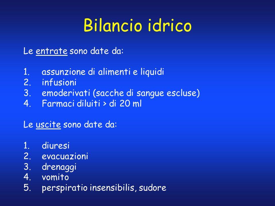 Bilancio idrico Le entrate sono date da: 1.assunzione di alimenti e liquidi 2.infusioni 3.emoderivati (sacche di sangue escluse) 4.Farmaci diluiti > d