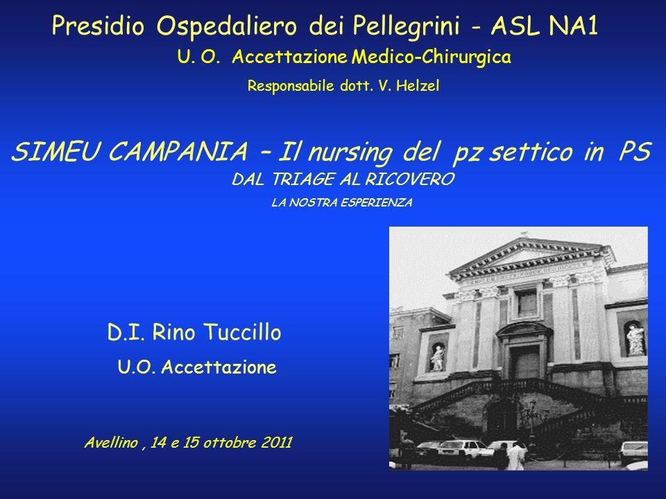 SIMEU CAMPANIA – Il nursing del pz settico in PS Presidio Ospedaliero dei Pellegrini - ASL NA1 U. O. Accettazione Medico-Chirurgica Responsabile dott.