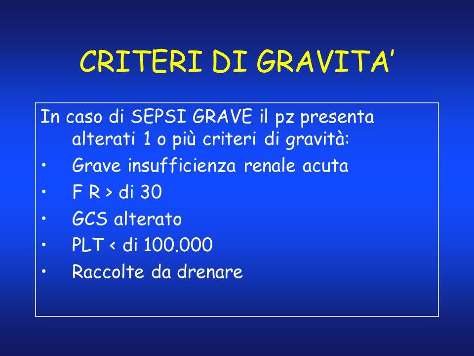 CRITERI DI GRAVITA In caso di SEPSI GRAVE il pz presenta alterati 1 o più criteri di gravità: Grave insufficienza renale acuta F R > di 30 GCS alterat
