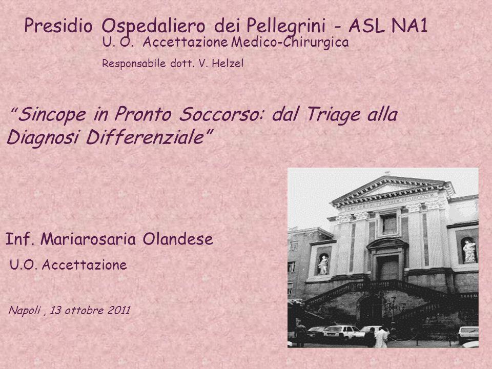 Sincope in Pronto Soccorso: dal Triage alla Diagnosi Differenziale Presidio Ospedaliero dei Pellegrini - ASL NA1 U.