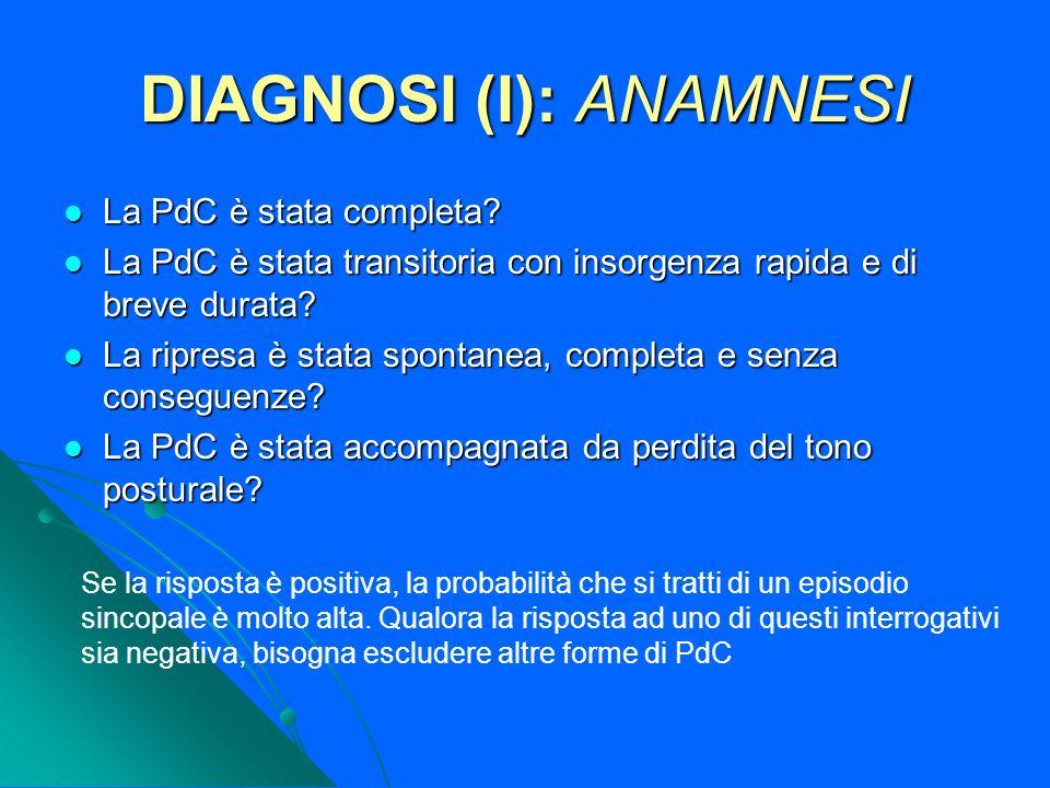 DIAGNOSI (I): ANAMNESI La PdC è stata completa? La PdC è stata completa? La PdC è stata transitoria con insorgenza rapida e di breve durata? La PdC è