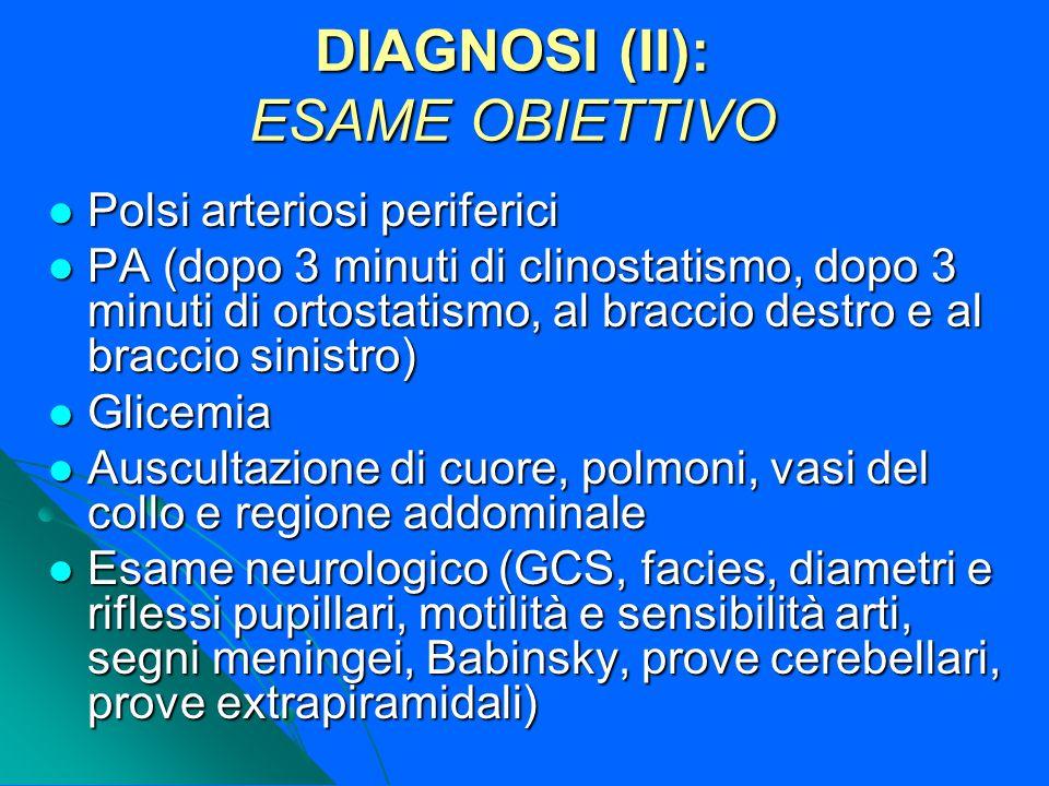 DIAGNOSI (II): ESAME OBIETTIVO Polsi arteriosi periferici Polsi arteriosi periferici PA (dopo 3 minuti di clinostatismo, dopo 3 minuti di ortostatismo