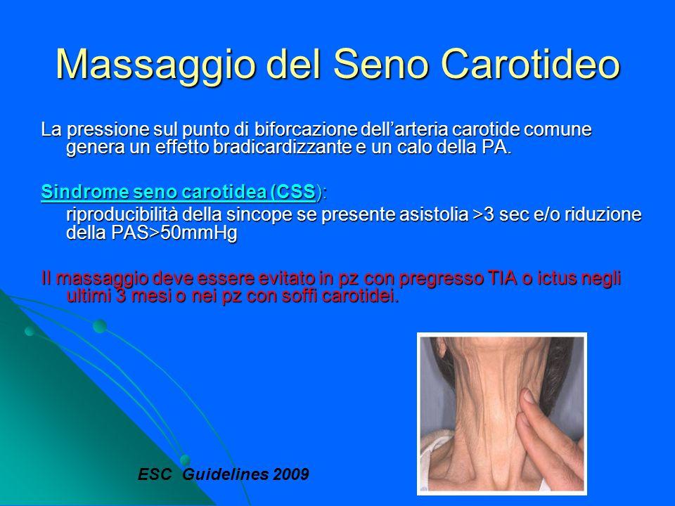 Massaggio del Seno Carotideo La pressione sul punto di biforcazione dellarteria carotide comune genera un effetto bradicardizzante e un calo della PA.