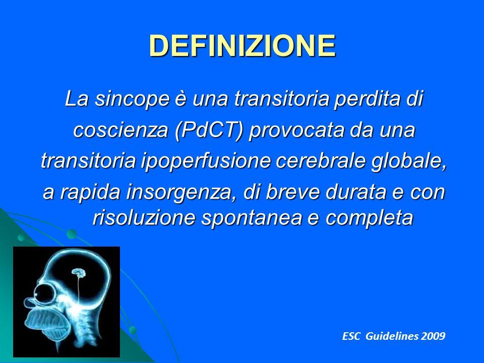 DEFINIZIONE La sincope è una transitoria perdita di coscienza (PdCT) provocata da una transitoria ipoperfusione cerebrale globale, a rapida insorgenza