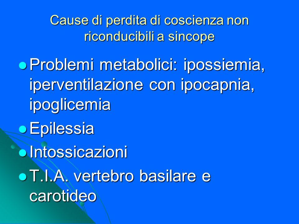 Cause di perdita di coscienza non riconducibili a sincope Problemi metabolici: ipossiemia, iperventilazione con ipocapnia, ipoglicemia Problemi metabo