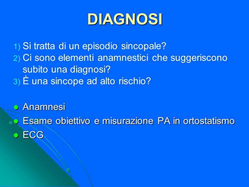 DIAGNOSI Anamnesi Anamnesi Esame obiettivo e misurazione PA in ortostatismo Esame obiettivo e misurazione PA in ortostatismo ECG ECG 1) Si tratta di u