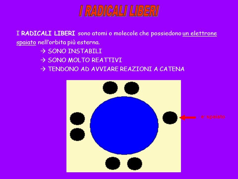 I RADICALI LIBERI sono atomi o molecole che possiedono un elettrone spaiato nellorbita più esterna. SONO INSTABILI SONO MOLTO REATTIVI TENDONO AD AVVI