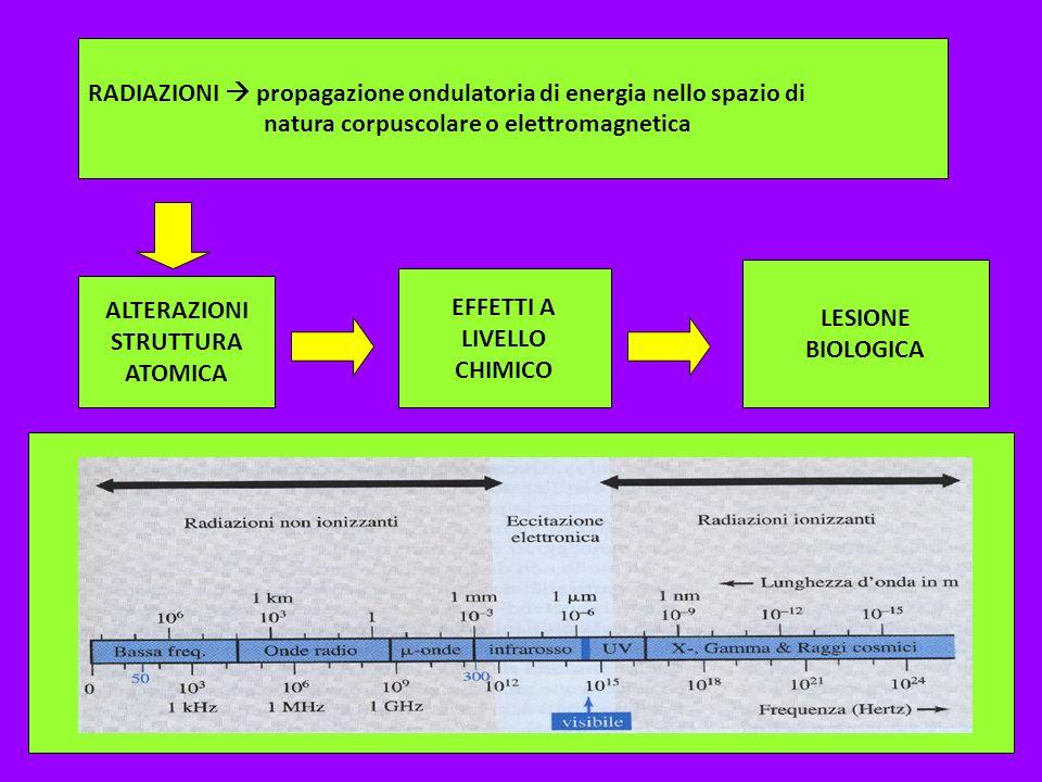RADIAZIONI propagazione ondulatoria di energia nello spazio di natura corpuscolare o elettromagnetica ALTERAZIONI STRUTTURA ATOMICA EFFETTI A LIVELLO