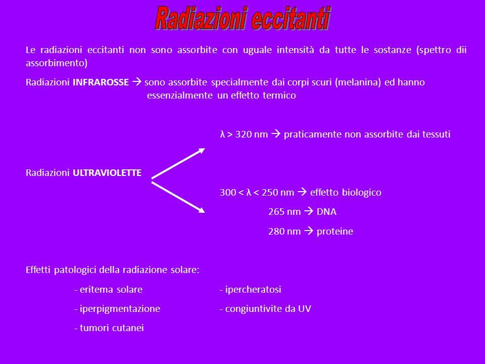 Le radiazioni eccitanti non sono assorbite con uguale intensità da tutte le sostanze (spettro dii assorbimento) Radiazioni INFRAROSSE sono assorbite s