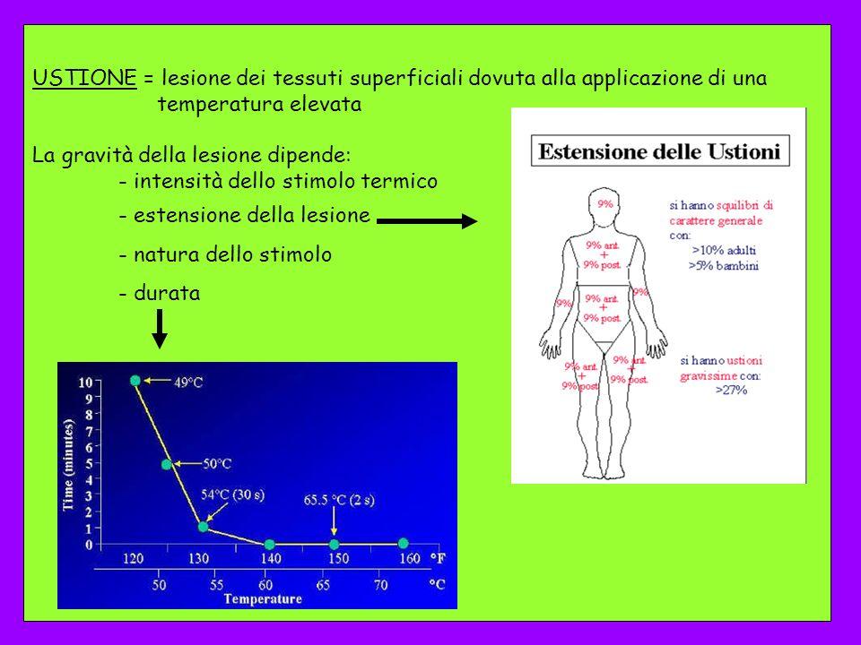 USTIONE = lesione dei tessuti superficiali dovuta alla applicazione di una temperatura elevata La gravità della lesione dipende: - intensità dello sti