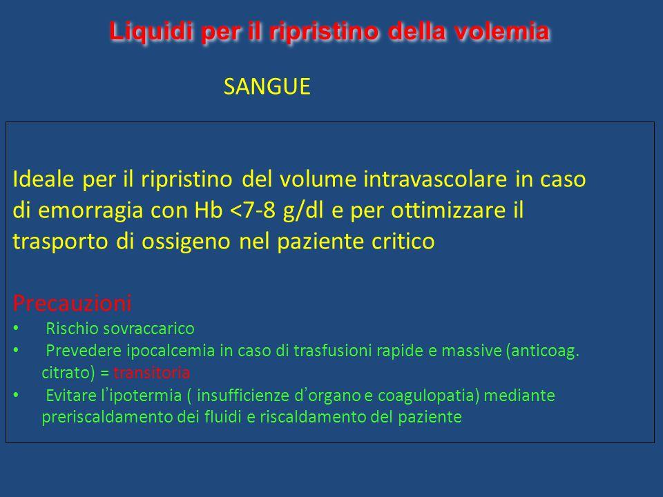 Liquidi per il ripristino della volemia SANGUE Ideale per il ripristino del volume intravascolare in caso di emorragia con Hb <7-8 g/dl e per ottimizz