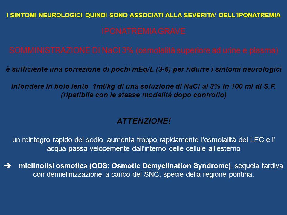 I SINTOMI NEUROLOGICI QUINDI SONO ASSOCIATI ALLA SEVERITA DELLIPONATREMIA IPONATREMIA GRAVE SOMMINISTRAZIONE DI NaCl 3% (osmolalità superiore ad urine