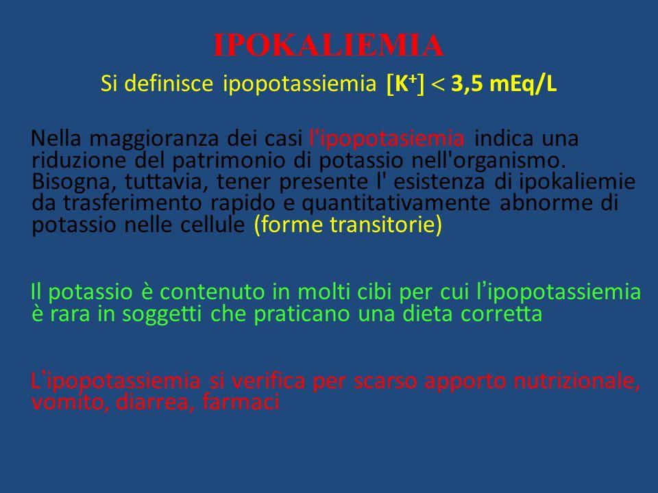 IPOKALIEMIA Si definisce ipopotassiemia K + 3,5 mEq/L Nella maggioranza dei casi l'ipopotasiemia indica una riduzione del patrimonio di potassio nell'