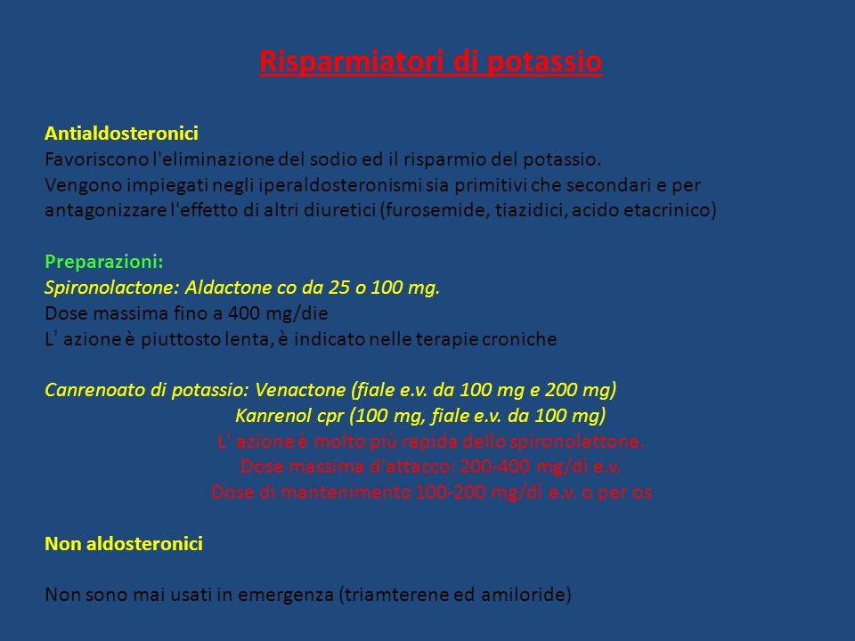 Risparmiatori di potassio Antialdosteronici Favoriscono l'eliminazione del sodio ed il risparmio del potassio. Vengono impiegati negli iperaldosteroni