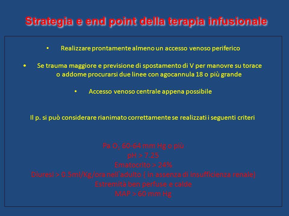 Strategia e end point della terapia infusionale Realizzare prontamente almeno un accesso venoso periferico Se trauma maggiore e previsione di spostame