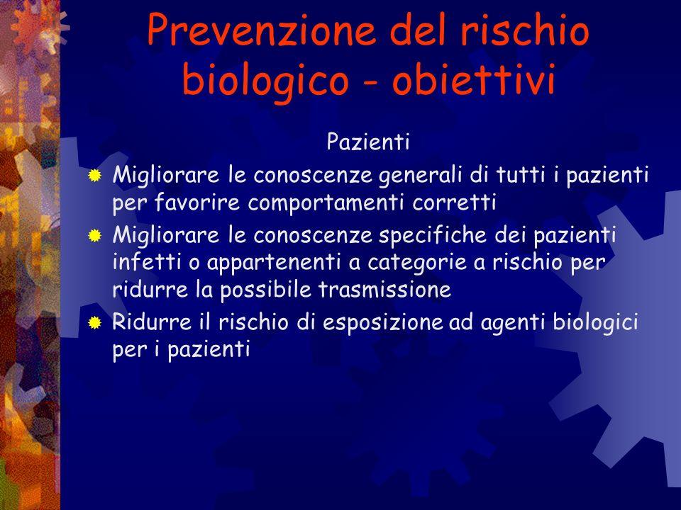 Prevenzione del rischio biologico - obiettivi Personale sanitario Conoscere lepidemiologia delle infezioni occupazionali Migliorare la conoscenza del